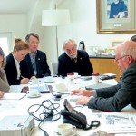 The US team met with officials at the Crown Estate, which manages property owned by the British monarchy, including the seabed out to 12 nautical miles.  The Crown Estate is working to document inshore fishing grounds as part of an ocean-use mapping project.  From left, Meredith Mendelson, Michele Hallowell, Rick Robins, John Williamson, and Colin Warwick, fisheries liaison for the Crown Estate.  (Lorelei Stevens photo)