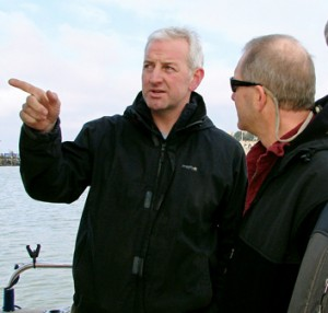 From left, Thanet Fishermen's Association treasurer Merlin Jackson and Rick Bellavance, a Rhode Island charter boat captain and fisheries liaison for a wind farm proposed in state waters. (John Williamson photo)