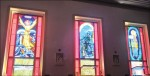"""The chapel's stained glass windows depict:  the biblical story of Jesus walking on water and calming the storm to reassure his disciples, a number of whom were fishermen; Gloucester's famous """"Man at the Wheel"""" statute.  (Photos courtesy of Vivien Li)"""