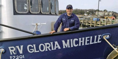 Gloria Michelle captain, LTJG Douglas Pawlishen, aboard his vessel at the Yank Marine shipyard in Tuckahoe, NJ. (LTJG Douglas Pawlishen/NEFSC photo)