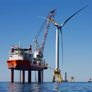 Work underway at the Deepwater Wind Block Island Wind Farm off Rhode Island.  (Deepwater Wind photo)
